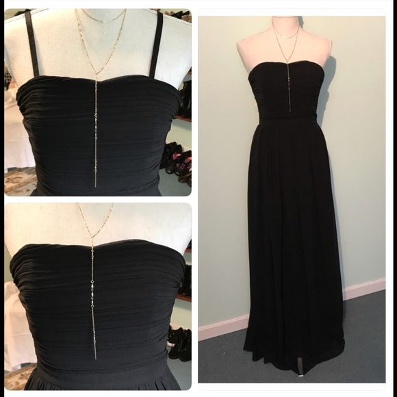 Erin Featherstone long black evening gown NWT